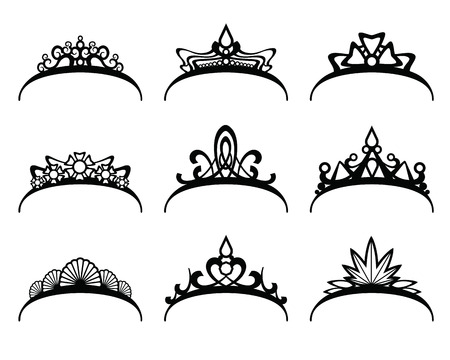 Illustration for Vector tiaras set. Crown royal for queen or princess, symbol royalty illustration - Royalty Free Image