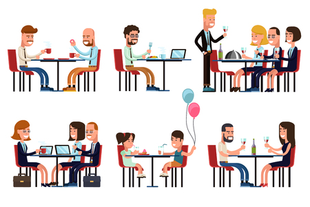 Illustration pour People eating and talking in restaurant or coffee shop. Flat style icons set. Food and drink, sitting businessman, business gossip, children meeting, vector illustration - image libre de droit