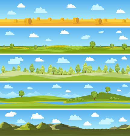 Illustration pour Country landscapes set. Outdoor sky tree, summer meadow, cloud and hill. Vector illustration - image libre de droit