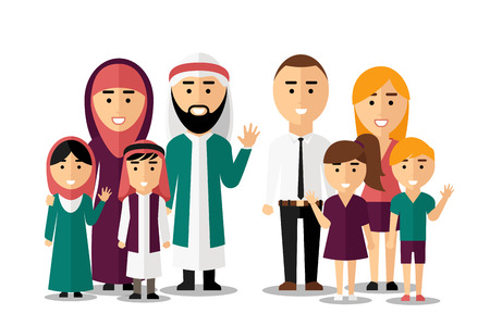 Illustration pour Arab and european happy families. Set of people characters. Friendship international human, ethnic nation group, vector illustration - image libre de droit