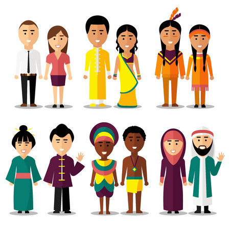 Illustration pour National couples characters in cartoon style. Indians and arab, hindus and japanese, american or european people. Vector illustration - image libre de droit
