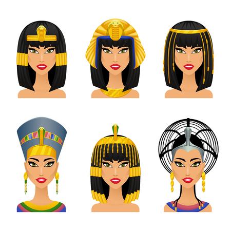Ilustración de Cleopatra Egyptian Queen. Woman ancient, history and face,  portrait nefertiti, vector illustration - Imagen libre de derechos