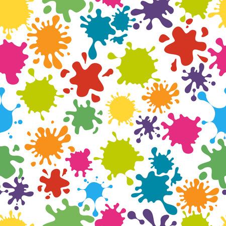 Ilustración de Paint splats pattern seamless. Rainbow colorful messy dirty splatter, vector illustration - Imagen libre de derechos