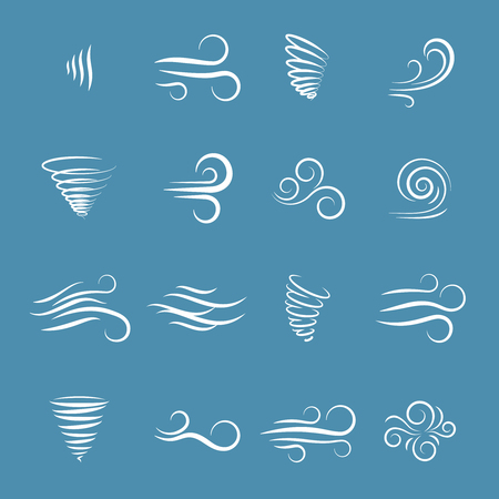 Ilustración de Wind icons nature, wave flowing, cool weather, climate and motion, vector illustration - Imagen libre de derechos