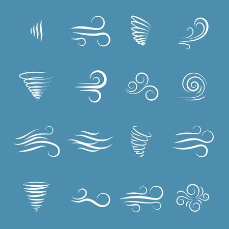 Illustration pour Wind icons nature, wave flowing, cool weather, climate and motion, vector illustration - image libre de droit