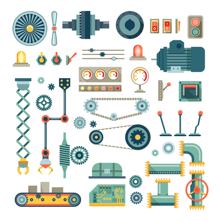 Illustration pour Parts of machinery and robot flat icons set.  Mechanical equipment for industry, technical engine mechanic, pipe and valve, absorber and  button, vector illustration - image libre de droit