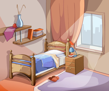 Illustration pour Bedroom interior in cartoon style. Furniture design bed indoor apartment. Vector illustration - image libre de droit