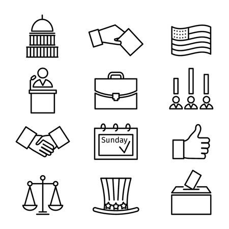 Illustration pour Voting and elections linear icons. Government political, ballot politics, candidate speech, vector illustration - image libre de droit