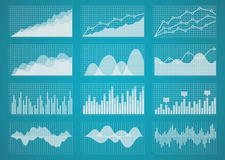 Illustration pour Graphs and charts set. Statistic and data, information  infographic, vector illustration - image libre de droit