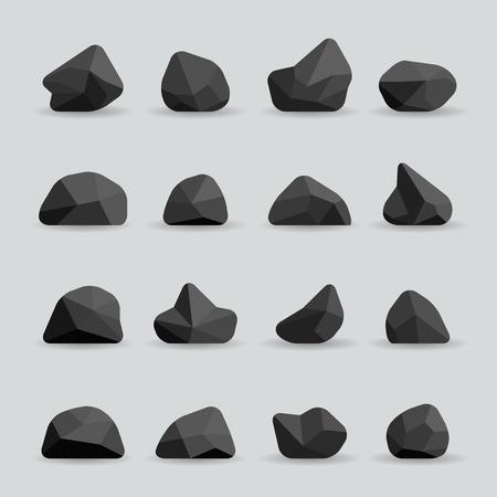 Illustration pour Black stones in flat style. Rock graphite coal or polygonal element. Polygonal black stones or poly rocks vector illustration - image libre de droit
