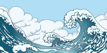 Ilustración de Ocean big wave in Japanese style. Water splash, storm space, weather nature. Hand drawn big wave vector illustration - Imagen libre de derechos