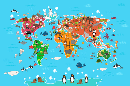 Illustration for World map with animals. Monkey and hedgehog, bear and kangaroo, hare wolf panda and penguin and parrot. Animals world map vector illustration in cartoon style - Royalty Free Image