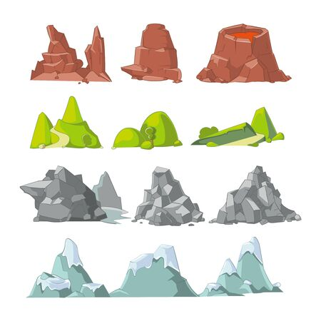 Illustration pour Hills and mountains cartoon vector set. Hill nature, element for landscape outdoor, rock snow illustration - image libre de droit