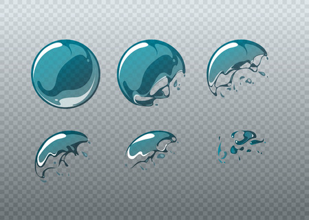Ilustración de Soap bubble bursting. Animation frames set in cartoon style. Ball round clean, soapy spherical figure, vector illustration - Imagen libre de derechos
