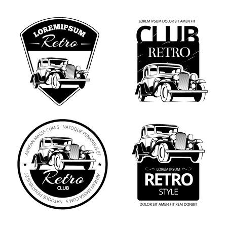 Ilustración de Classic muscle car vector labels, emblems and badges set.  Retro vehicle, old automotive transportation logo illustration - Imagen libre de derechos