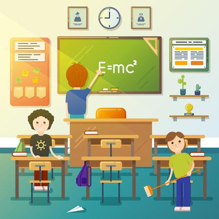 Ilustración de Kids cleaning classroom. Cleaning blackboard, cleaning class, cleaning chalkboard, boy sweeping. Vector illustration - Imagen libre de derechos