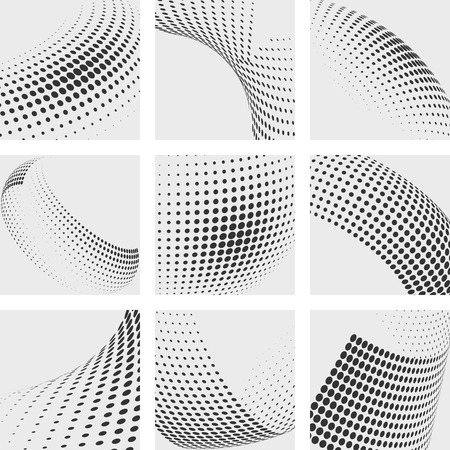Ilustración de Halftone dots vector abstract backgrounds set. Dot pattern element, design dots, gradation wave dot illustration - Imagen libre de derechos