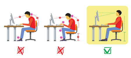 Illustrazione per Correct and bad spine sitting posture. Vector diagram in flat style. Correct spine, bad position, correct and bad sit illustration - Immagini Royalty Free