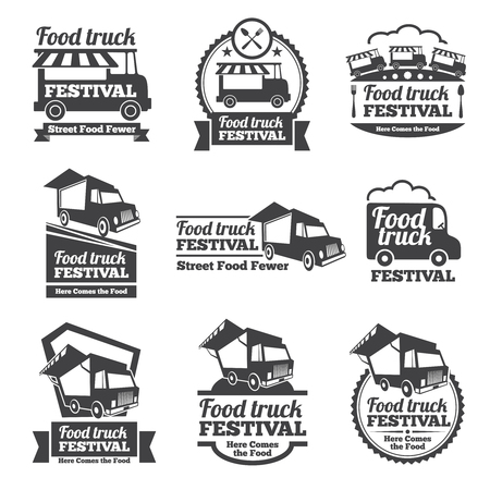Illustrazione per Food truck festival emblems and logos vector set. Festival street food, badge food festival, emblem food truck illustration - Immagini Royalty Free