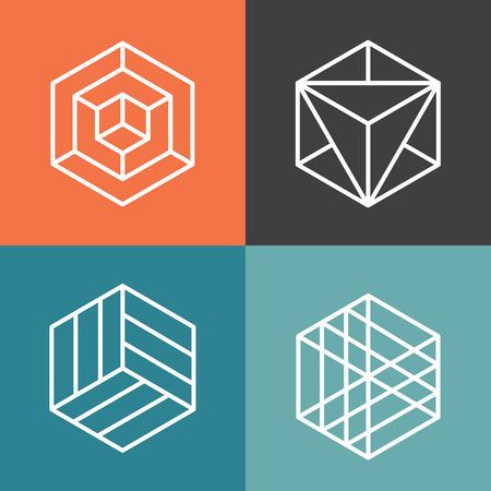 Illustration for Hexagon vector logos in outline linear style. Logo hexagon, abstract hexagon,  geometric logo hexagon illustration - Royalty Free Image