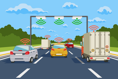 Illustration pour Highway communication system vector infographics. Road communication, highway system communication illustration - image libre de droit