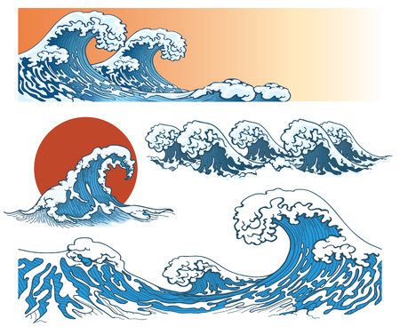 Illustration pour Waves in japanese style. Sea wave, ocean wave splash, storm wave. Vector illustration - image libre de droit