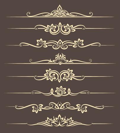 Illustration pour Calligraphic design elements, page dividers with thai ornament. Divider ornament page, ornate vector illustration - image libre de droit