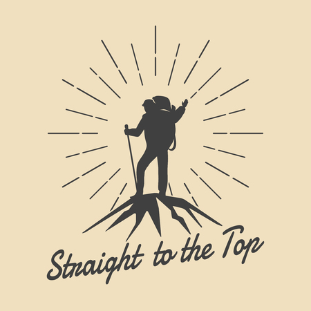 Illustration pour Mountain travel man retro emblem. Man on mountain peak vector logo. Peak logo, extreme adventure logo, climbing outdoor tourism logo illustration - image libre de droit