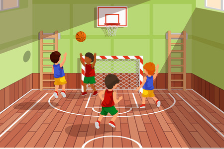 School basketball team playing game. Kids are playing basketball, sport basketball, playing gym, court basketball game, vector illustration