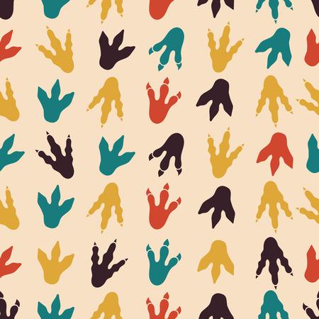 Ilustración de Dinosaur footprints vector seamless pattern. Seamless background footprint, paw footprint mammal, claw predator footprint pattern illustration - Imagen libre de derechos