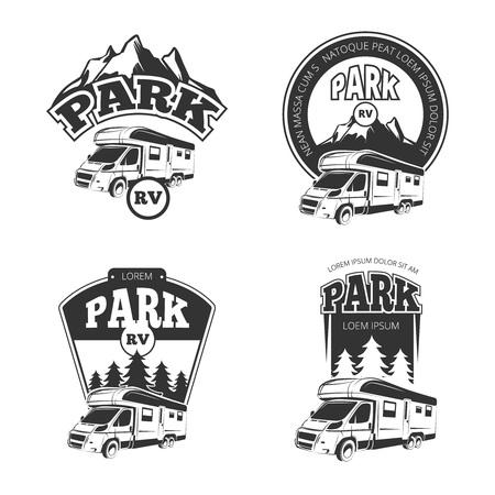 Illustration pour RV and campers vector emblems, labels, badges, logos set. Camper park label, rv park emblem, park rp recreation logo, park rv badge illustration - image libre de droit