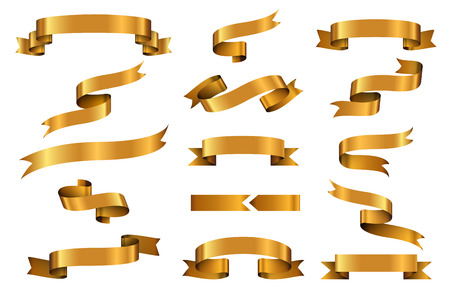 Illustration pour Gold glossy ribbon vector banners set. Ribbon label gold glossy, ribbon curled tag, waving ribbon gold glossy illustration - image libre de droit