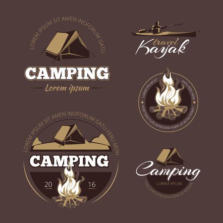 Illustration pour Vintage outdoor adventure and camping vector color labels set.  Label outdoor camping, vintage camping, logo adventure camping illustration - image libre de droit