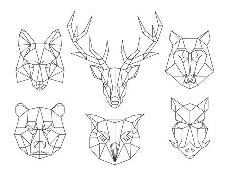 Illustration pour Low poly animals heads. Triangular thin line animals vector set. Animal geometric head, icon animal polygon, polygonal animal tattoo illustration - image libre de droit