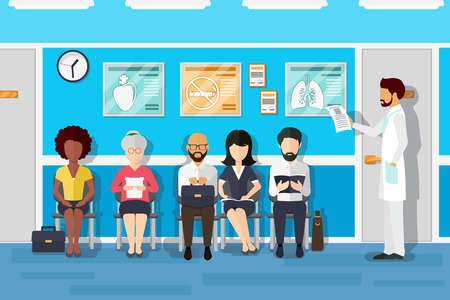 Illustration pour Patients in doctors waiting room. Patient and doctor, patient in hospital, office interior clinic, waiting patient. Vector illustration - image libre de droit