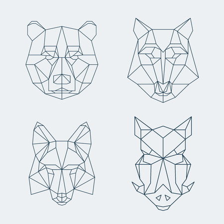 Bear and wolf, fox and wild boar heads. illustration