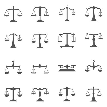 Illustration pour Vector scales, balance icons. Scale symbol, scale weight, scale measurement, equal scale illustration - image libre de droit