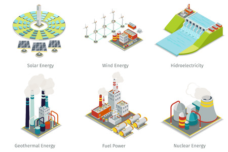 Ilustración de Power plant icons. Electricity generation plants and sources. Electricity energy, hydroelectricity energy, geothermal energy, solar and wind energy. Vector illustration - Imagen libre de derechos