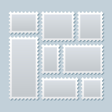 Illustration pour Blank postage stamps in different size. Stamp mark postage, paper mark stamp, blank mark postcard. Vector illustration template - image libre de droit