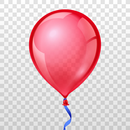 Illustration pour Realistic red balloon on transparent checkered background. Balloon air birthday, helium balloon, moving balloon inflatable, Vector illustration - image libre de droit