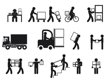 Ilustración de Logistic people pictograms. Logistic worker, man delivery, logistic business, vector illustration - Imagen libre de derechos