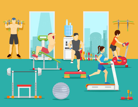 Ilustración de Training people in gym. Training gym, sport fitness gym, man workout in gym. Vector illustration in flat style - Imagen libre de derechos