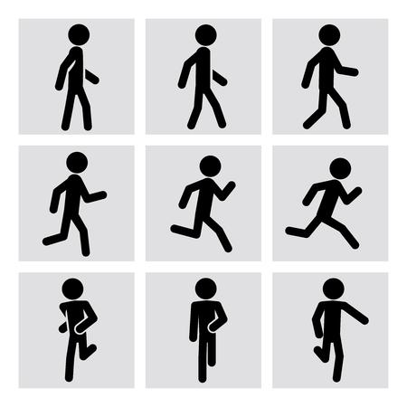 Ilustración de Walking and running people vector icons. Walking animation, runner sport, man running, fitness walking, running activity, jogging walking, running training illustration - Imagen libre de derechos