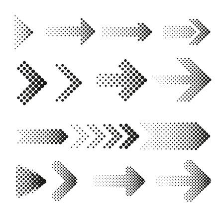 Ilustración de Dotted halftone arrows vector set. Arrow dot, arrow halftone, web arrow pattern illustration - Imagen libre de derechos