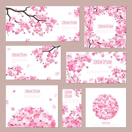 Ilustración de Greeting cards vector template with blossoming sakura on white - Imagen libre de derechos