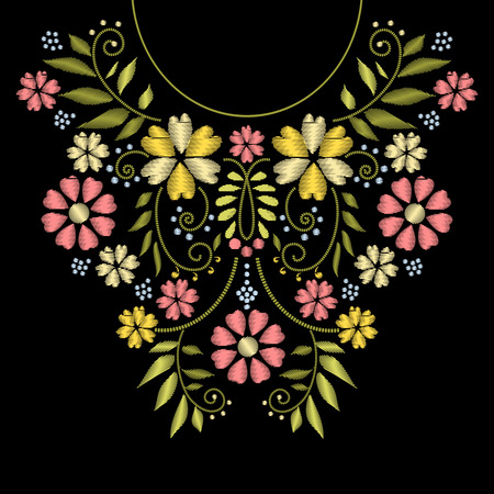 Illustration for Neck line embroidery. neck embroidery design. Ornament with flower pattern for neckline illustration - Royalty Free Image