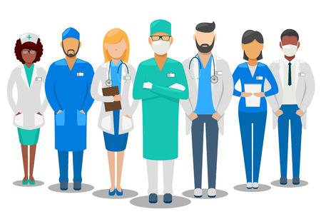 Illustrazione per Medical good team. Hospital staff doctors and nurse. Vector illustration - Immagini Royalty Free