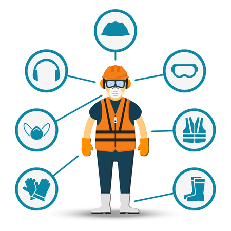 Illustration pour Worker health and safety vector. Illustration of accessories for protection - image libre de droit