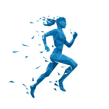 Ilustración de Active running woman vector illustration. Energy jogging woman design. Silhouette of running woman of polygonal particles - Imagen libre de derechos