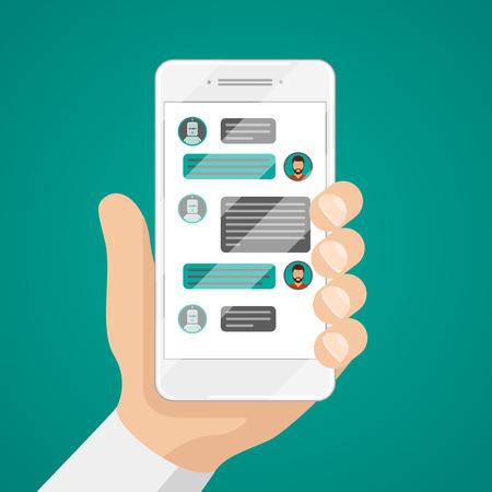 Ilustración de Man chatting with chat bot on smartphone vector illustration. Communication with chat bot use smartphone, message for chat bot - Imagen libre de derechos